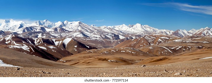 Panorama of snowcapped Himalaya Mountains in Ngari Prefecture, Tibet, China