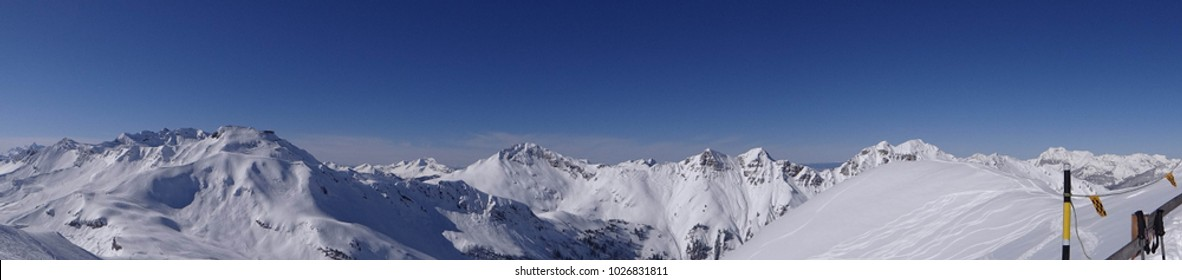 Panorama of snowy mountains in the Portes du Soleil near Champoussin, Switzerland
