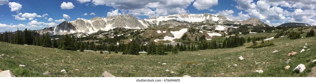 Panorama of the Snowy Range, Wyoming
