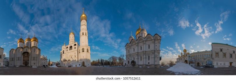 A panorama of the Sobornaya Square, inside the Kremlin.