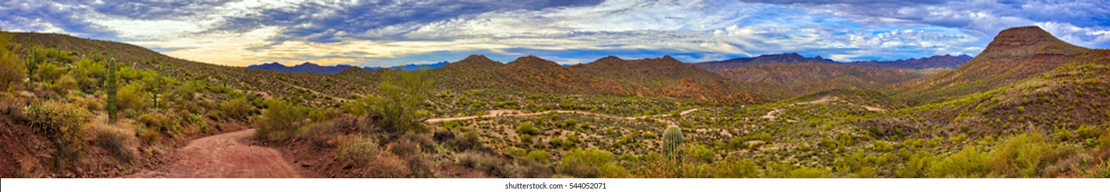 Panorama of Sonoran Desert near Phoenix, Arizona.