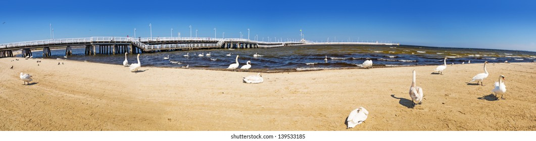 Panorama at Sopot molo - the longest wooden pier in Europe, Poland