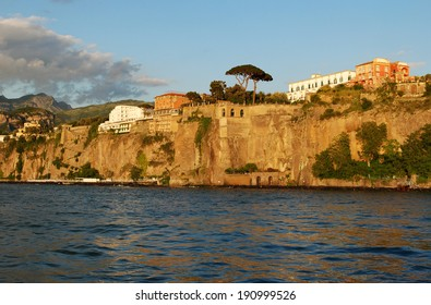 Panorama of Sorrento cost at sunset, Italy / Sorrento coast view