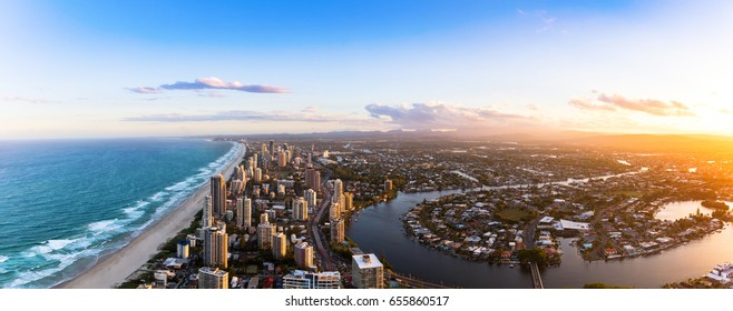 Panorama of Southern Gold Coast looking towards Broadbeach at dusk - Shutterstock ID 655860517