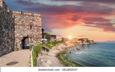 Panorama of Sozopol old town at surise. Ruins of ancient fortifications in  Sozopol, Burgas Region, Bulgaria