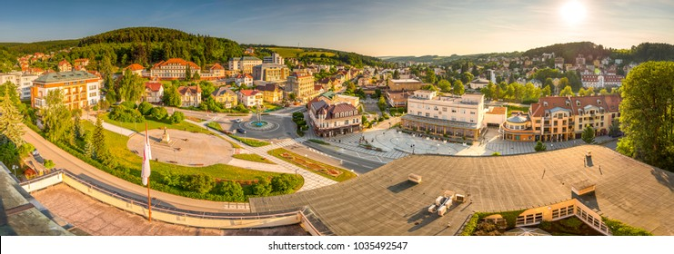 Panorama of Spa Luhacovice, Zlin region, Moravia, Czech Republic