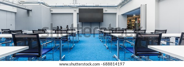 Pleasing Panorama Spacious University Lecture Room Screen Stock Photo Pdpeps Interior Chair Design Pdpepsorg