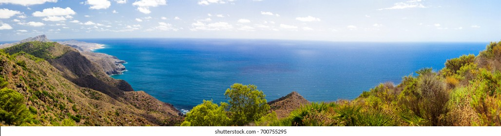 Panorama Spain Murcia mountains, blue sea, Costa Calida