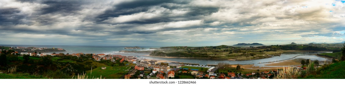 Panorama of the Spanish city with the mouths of its rivers to the Atlantic Ocean