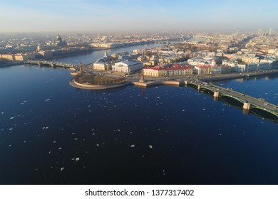 Panorama of the Spit of Vasilievsky Island on a sunny April morning (aerial photography). Saint-Petersburg, Russia