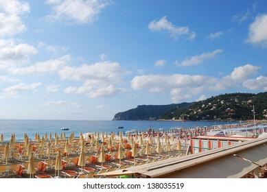 Panorama of Spotorno village and beach, Mediterranean sea, Liguria, Italy