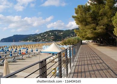 Panorama of Spotorno village, walk and beach, Mediterranean sea, Liguria, Italy