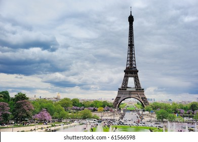 Panorama of the square with Eiffel tower in Paris