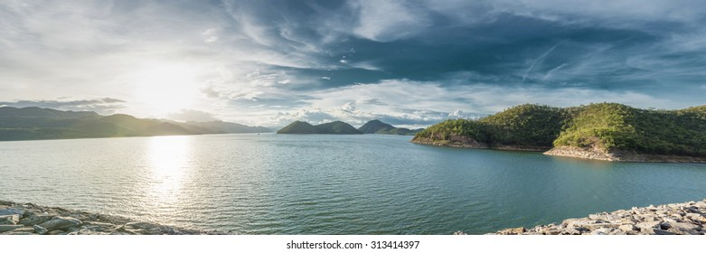 Panorama of Srinakarin Dam, Kanchanaburi, Thailand at late afternoon