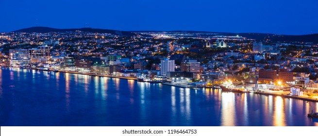 Panorama of St. John's at night. St. John's, Newfoundland and Labrador, Canada.