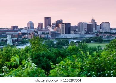 Panorama of St. Paul at sunset. St. Paul, Minnesota, USA.