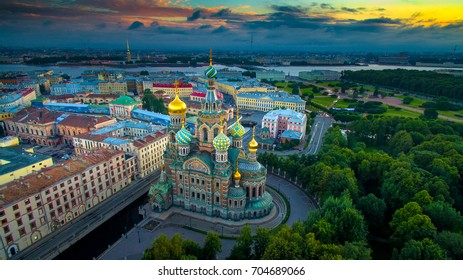 Panorama of St. Petersburg. The Church of the Savior on Blood. Embankment of the Griboedov Canal. Russia.
