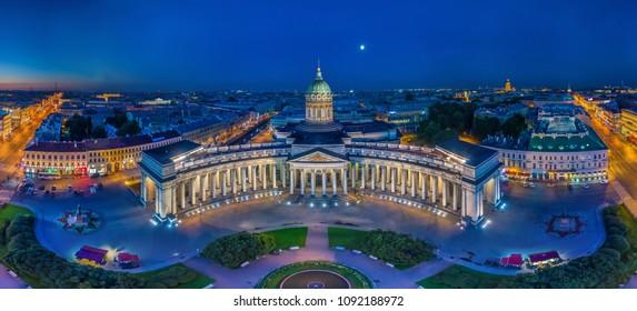 Panorama of St. Petersburg. Kazan Cathedral. Nevsky Prospekt in St. Petersburg. Russia. Evening Peter. Panoramas of Russian cities.