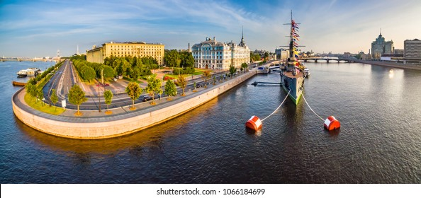 "Panorama of St. Petersburg Museums of Russia. Cruiser ""Aurora"" Panorama of Russian cities. Morning in Petersburg. Embankment of the Neva River. Summer day in St. Petersburg. Architecture of Petersburg"