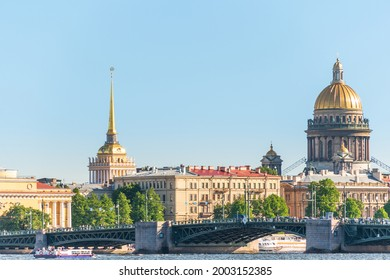 Panorama of St. Petersburg from the Neva River with a view of St. Isaac's Cathedral and the Admiralty