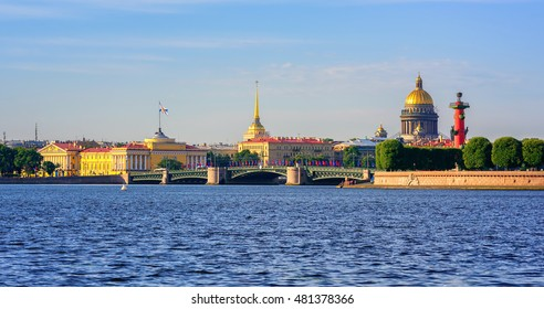 Panorama of St Petersburg, Russia, with Palace bridge over Neva river, golden dome of St Isaac cathedral, Admiralty building and Rostral Column