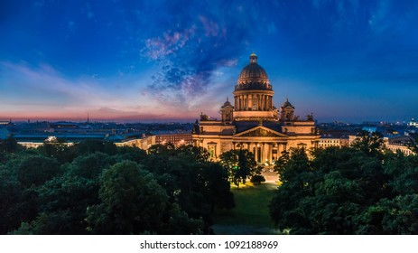 Panorama of St. Petersburg. Saint Isaac's Cathedral. Nevsky Prospekt in St. Petersburg. Russia. Evening Peter. Panoramas of St. Isaac's Cathedral from a height.