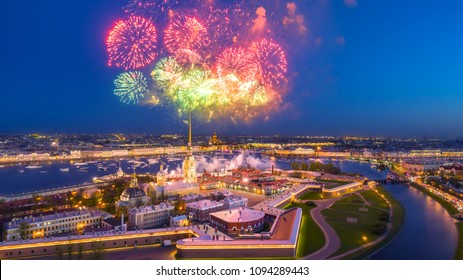 Panorama of St. Petersburg. Salute above the Peter and Paul Fortress. Russian Federation. The City of St. Petersburg. Scarlet sails. Day of the city. Holidays in Russia.