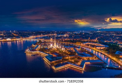Panorama of St. Petersburg. View of the Peter and Paul Fortress. Petersburg from the air. Saint Petersburg. russia