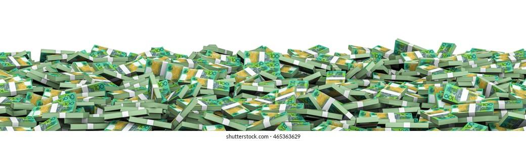 Panorama stacks Australian dollars / 3D illustration of panoramic stacks of Australian hundred dollar bills