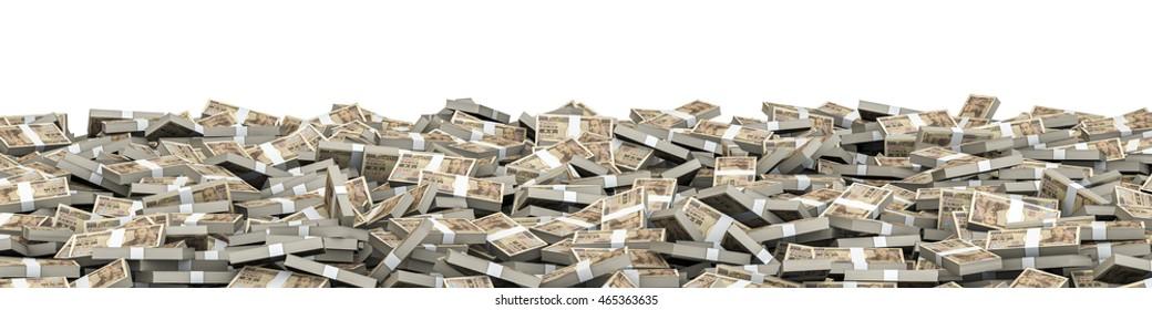 Panorama stacks yen / 3D illustration of panoramic stacks of ten thousand yen notes