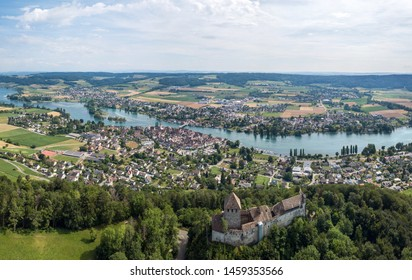 Panorama of Stein am Rhine and the Hohenklingen Castle in the beautiful region of Lake Constance and Rhine river. Switzerland. Aerial image by drone