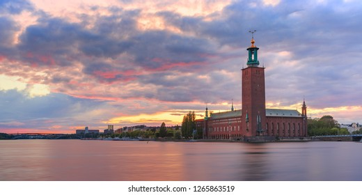 Panorama of Stockholm City Hall or Stadshuset at sunset in the Old Town in Stockholm, capital of Sweden