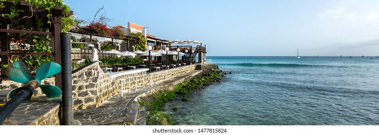 Panorama of stone headland with buildings on Sal island, Cabo Verde, Cape Verde