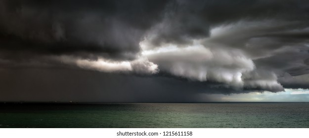 panorama of stormy clouds on the sea