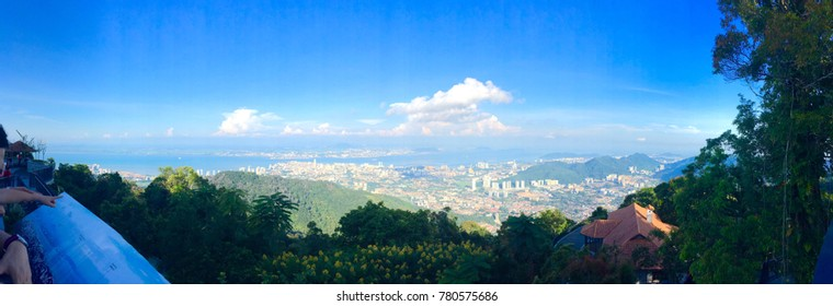 Panorama of the straight of Penang with the cities of Butterworth across Penang City taken from the Penang Hill