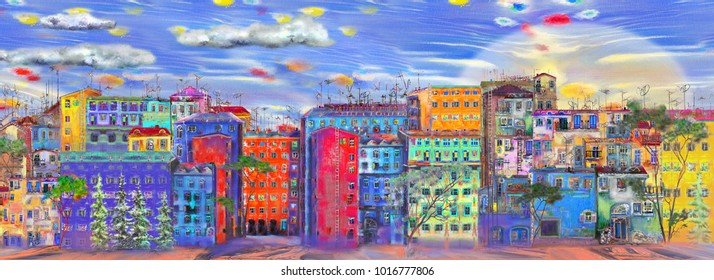 Panorama of street with colorful homes