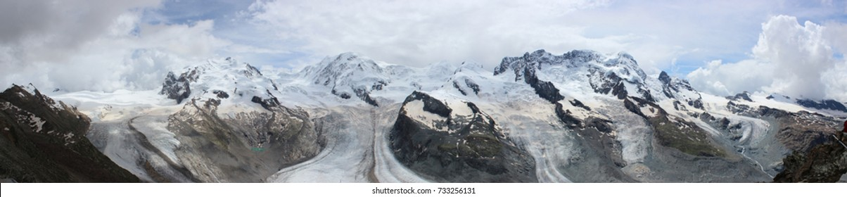 Panorama of stunning mountains and glaciers above Zermatt, Switzerland.