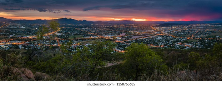 Panorama of stunning sunset over Townsville, Queensland, Australia