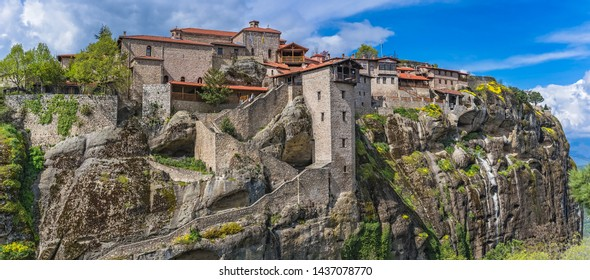 Panorama of the stunningly located on top of a rock Holy Monastery of Great Meteoron in Meteora, Greece