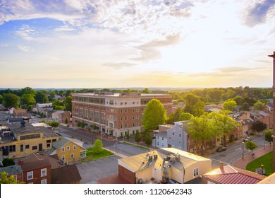 panorama of suburban area and aerial view with sunset blue sky in summer West Chester , Pennsylvania USA