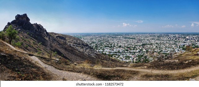 Panorama of Sulayman Mountain. Osh sity. South of Kyrgyzstan.