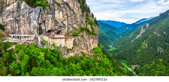 Panorama of Sumela Monastery at Mela Mountain in Turkey
