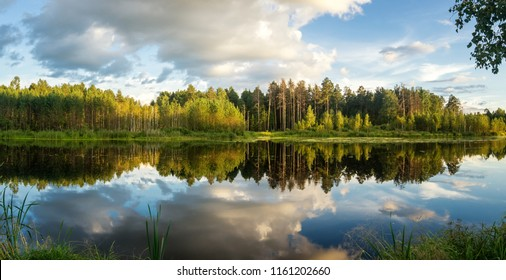 Panorama of summer evening landscape on the Ural lake with pine trees on the shore, Russia, August