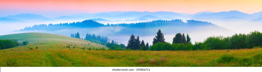 Panorama of the summer morning in the foggy Carpathian mountains. Borzhava ridge, Transcarpathian, Ukraine, Europe.