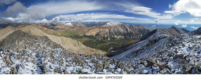 panorama from the summit of Mount Tabeguache in the Sawatch Range of Colorado