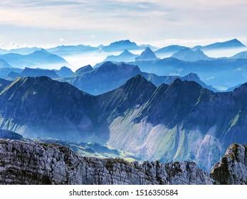 Panorama from the summit of Mutteristock situated between the Alpine valleys Klöntal (Klontal or Kloental) and Wagital (Waegital or Wägital), Innerthal - Canton of Schwyz, Switzerland