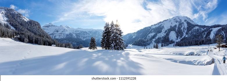 Panorama sunny cross-country ski trail in Gnade Alm, Hohe Tauern, Austria
