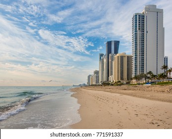 Panorama of Sunny Isles Beach city in Greater Miami area, Florida, USA