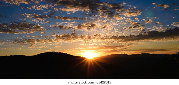 panorama of a sunrise above Park City, Utah, USA