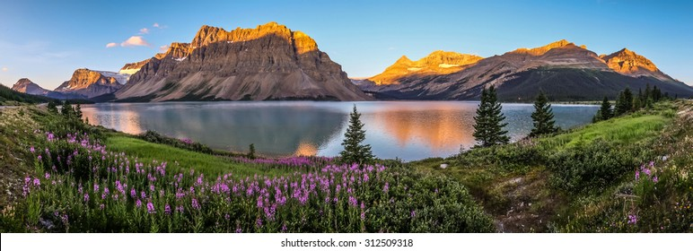 Panorama of sunrise at Bow Lake, Banff National Park.
